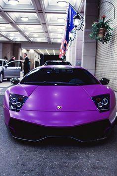 Cool and luxury purple Lamborghini.