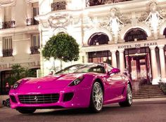 Pink luxury car.