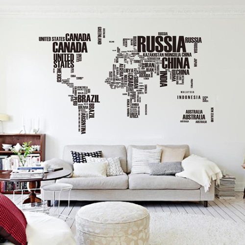 用推博178English Words World Map Wall Giant Art Decals PVC For Parlour TV Walls Decor