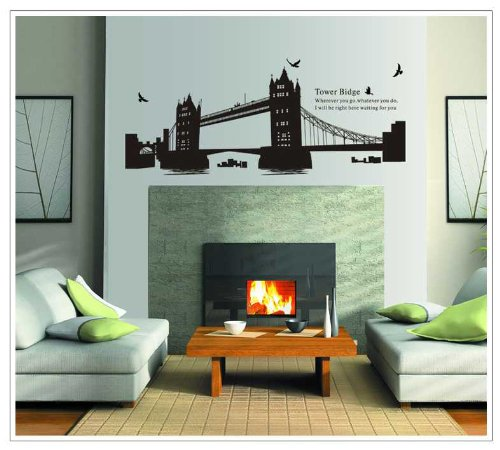 用推博179 Black Tower Bridge Boats And Birds Sofa Wall Decor Removable Stickers