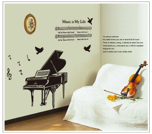 用推博180Black Piano With Music Score And Lyric Birds Wall Sticker For Sitting Room Or Kids' Room Decor