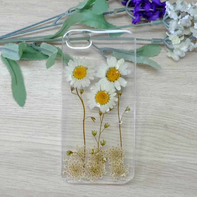 White Daisy And White Lavender Handmade Case