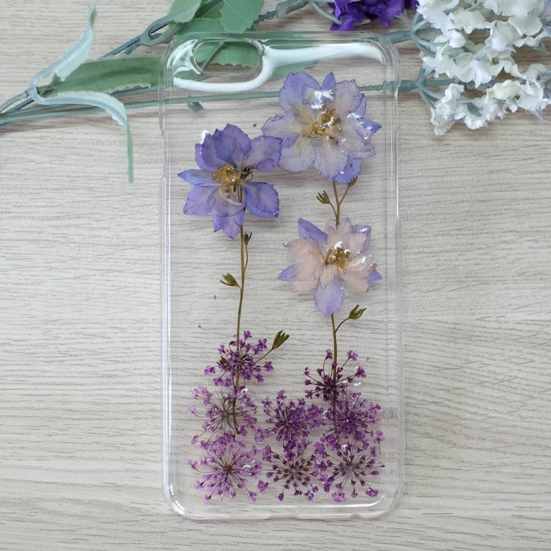 Purple Larkspur And Purple Lavender Handmade Real Dried Pressed Flowers Case