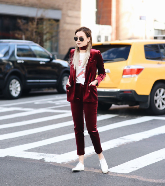 15 this utterly gorgeous red velvet suit, worn with a white graphic tee and sneakers for a slick look which oozes boyish charm..png